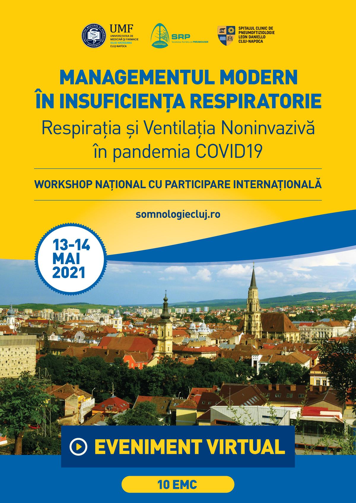 """Workshop-ul Național """"Respirația și Ventilația Noninvazivă  în pandemia COVID 19"""""""